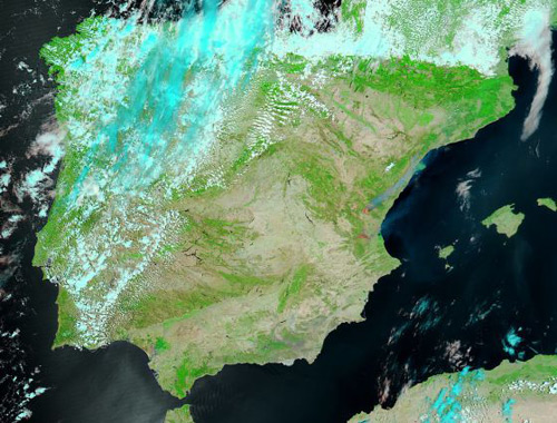 Incendios de Valencia vista satélite península